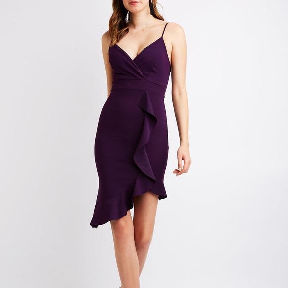 769fd02837 ✨NWOT Bodycon Asymmetrical Ruffle Dress Medium✨
